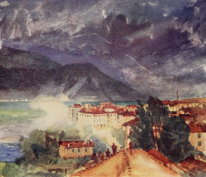 The Alps, Painted and Described - Thunderstorm breaking over Pallanza (1904)