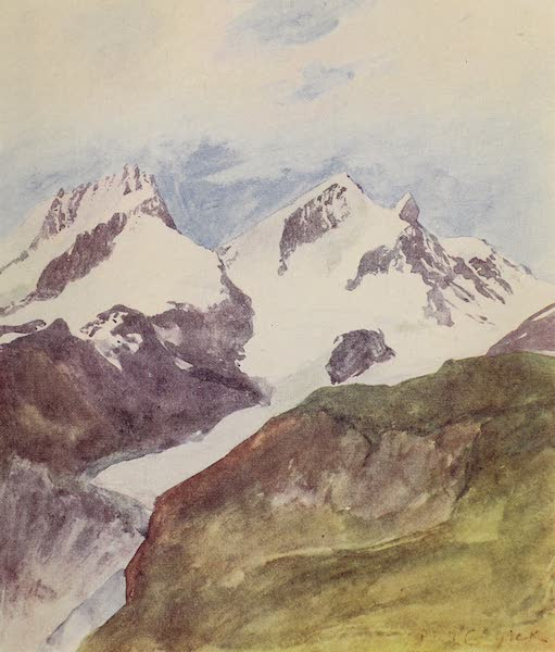 The Alps, Painted and Described - Rimpfischorn and Strahlhorn from the Riffelberg (1904)
