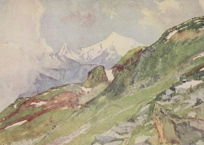 The Alps, Painted and Described - Weisshorn and Matterhorn from Fiescheralp (1904)