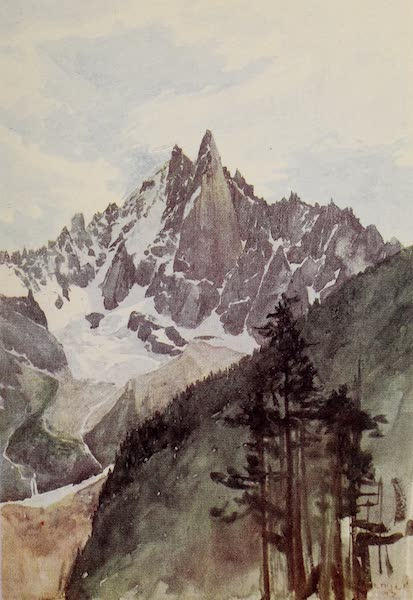 The Alps, Painted and Described - Aiguille Verte and Aiguille du Dru from the Chamonix Valley (1904)