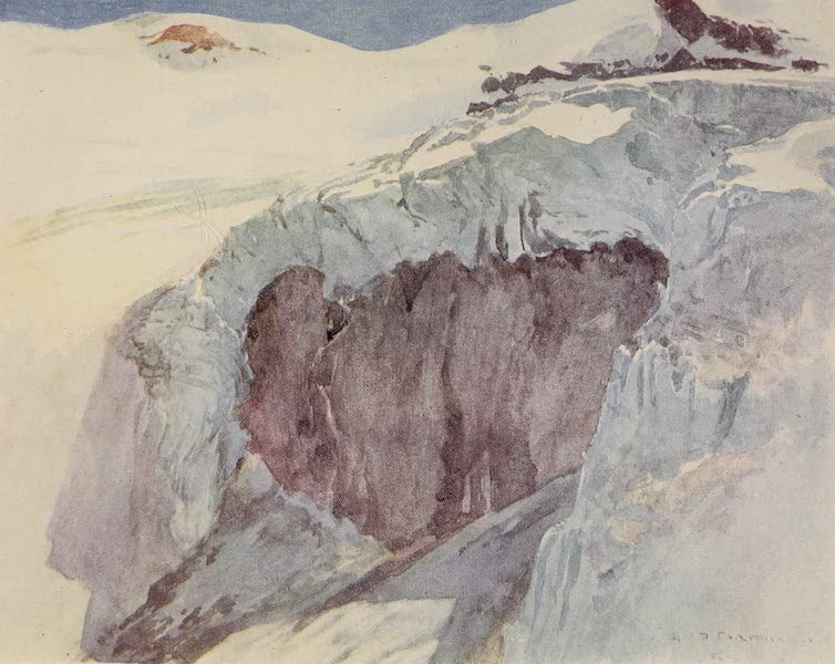 The Alps, Painted and Described - Furggen Glacier Icefall (1904)