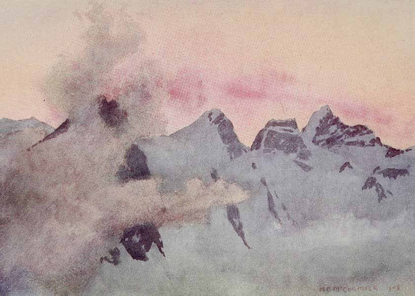 The Alps, Painted and Described - Kranzberg - Rotthalhorn - and Jungfrau : Sunset (1904)