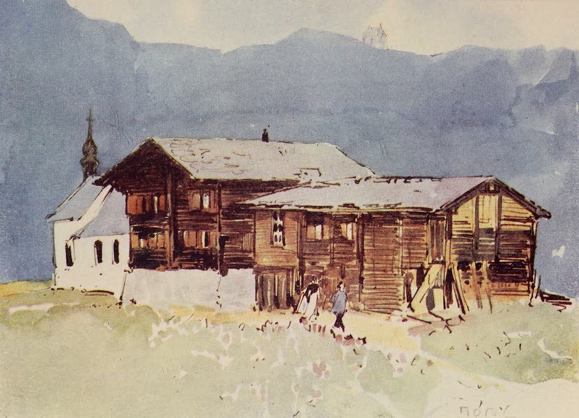 The Alps, Painted and Described - Chalets and Church. Riederalp (1904)