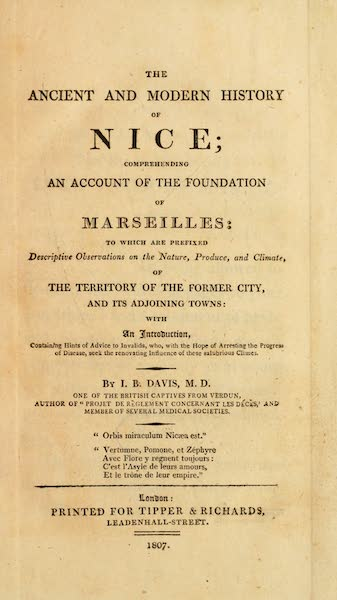 The Ancient and Modern History of Nice - Title Page (1807)