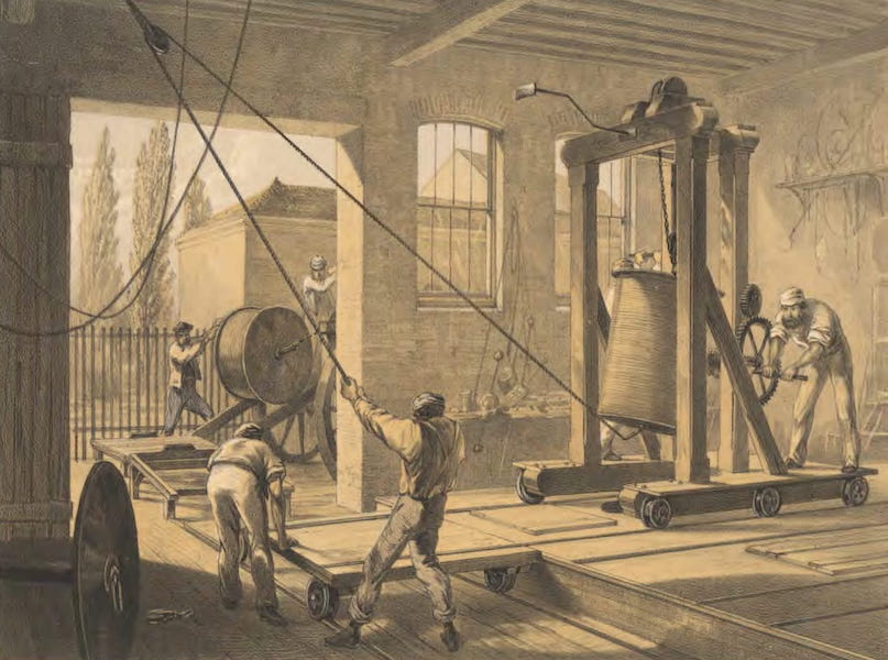 The Atlantic Telegraph - The Reels of Gutta-Percha-Covered Conducting-Wire Conveyed into Tanks at the Works at Greenwich (1865)