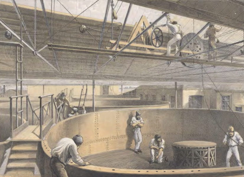 The Atlantic Telegraph - Coiling the Cable in the Large Tanks at the Works at Green-Wich (1865)