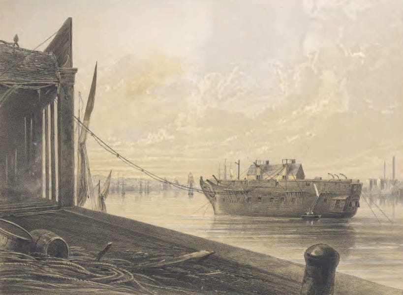 The Atlantic Telegraph - The Cable Passed from the Works into the Hulk Lying in the Thames at Greenwich (1865)