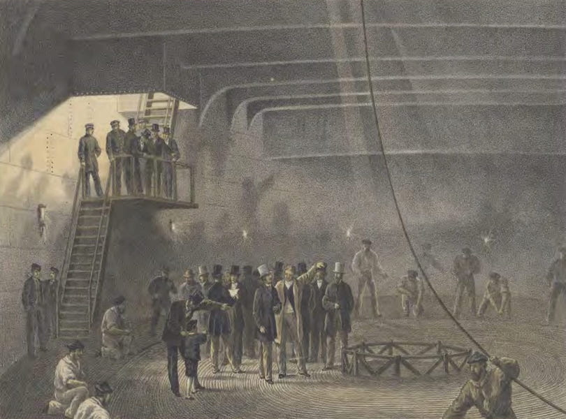 The Atlantic Telegraph - Coiling the Cable in the After-Tank on Board the Great Eastern at Sheerness : Visit of H.R.H. The Prince of Wales on May 24. (1865)