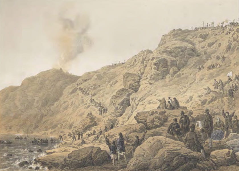 The Atlantic Telegraph - The Cliffs, Foilhummerum Bay : Point of the Landing of the Shore End of Cable, July 22 (1865)