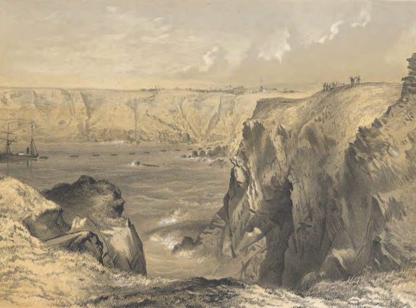 The Atlantic Telegraph - Foilhummerum Bay Bay, Valentia, from Cornwall Fort : The Caro-Line and Boats Laying the Earth-Wire, Jul 21 (1865)