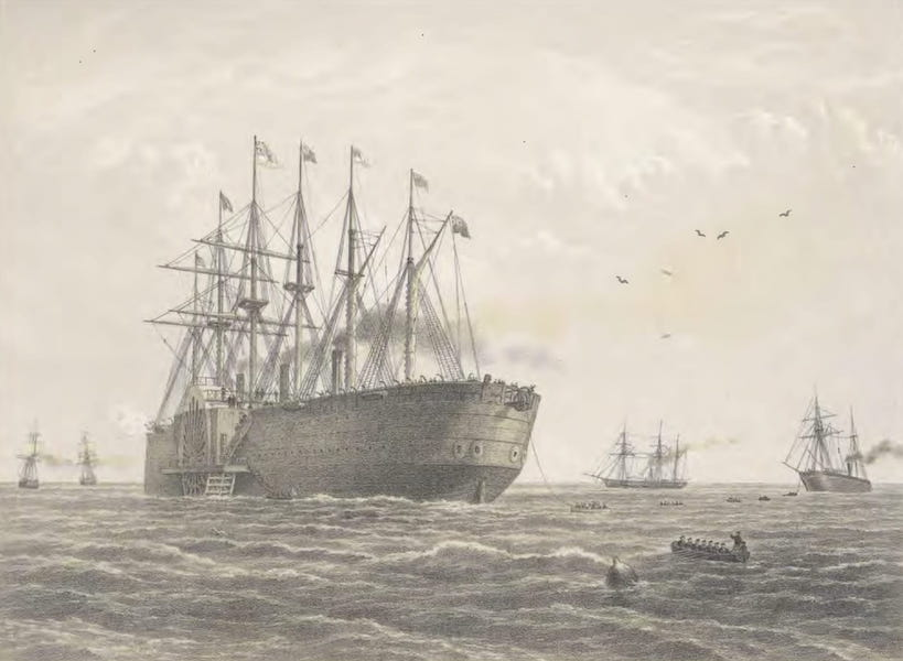 The Atlantic Telegraph - The Great Eastern Under Weight, July 23 : Escort and Other Ships Introduced Being the Terrible, the Sphinx, the Hawk, and the Caroline (1865)