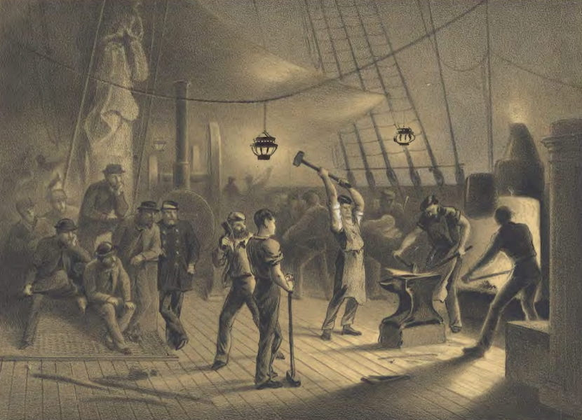 The Atlantic Telegraph - The Forge on Deck : Night of August 9 : Preparing the Iron Plating for Capstan (1865)