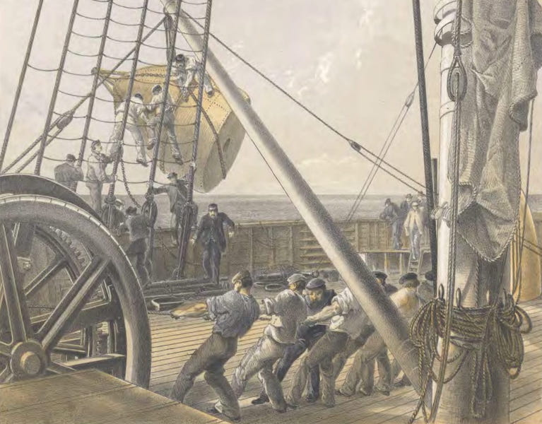 The Atlantic Telegraph - Getting Out One of the Large Buoys for Launching, August 2 (1865)
