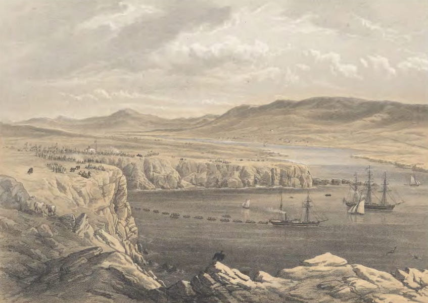 The Atlantic Telegraph - General View of Port Magee, &c., from the Heights Below Cora Beg : The Caroline Laying the Shore End of the Cable, July 22 (1865)