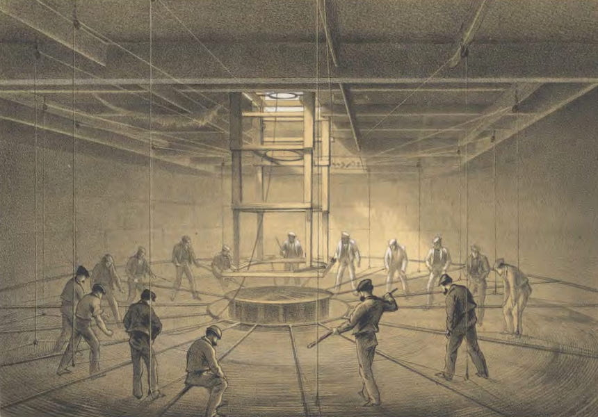The Atlantic Telegraph - Interior of One of the Tanks on Board the Great Eastern : Cable Passing Out (1865)