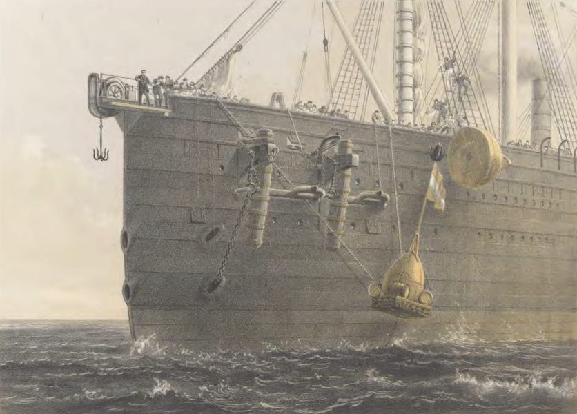 The Atlantic Telegraph - Launching Buoy on August 8, in Lat. 51° 25' 30''; Long. 30° 56' (Marking Spot Where Cable had Been Grappled) (1865)