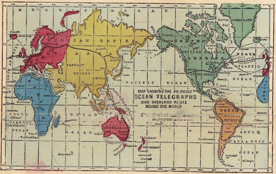 The Atlantic Telegraph [Chart] - Map Showing the Proposed Ocean Telegraphs and Overland Route Round the World (1865)