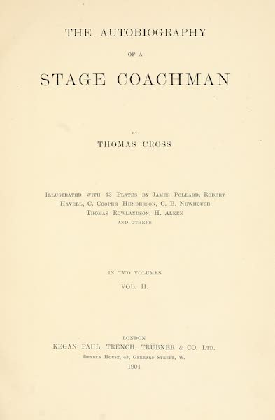 The Autobiography of a Stage Coachman Vol. 2 - Title Page (1904)