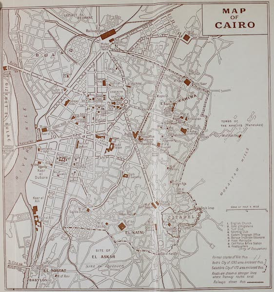 The Banks of the Nile - Map of Cairo (1913)