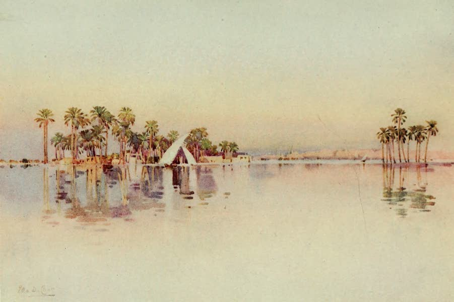 The Banks of the Nile - The Citadel from the inundated land at the base of the Pyramids (1913)