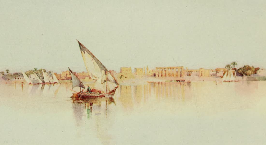 The Banks of the Nile - The Temple of Luxor, from the West Bank of the Nile (1913)