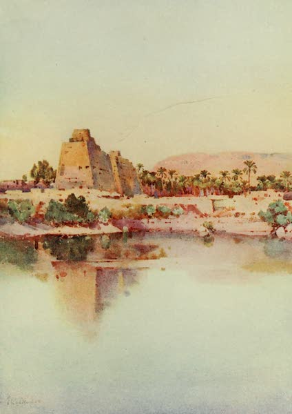 The Banks of the Nile - The Pylon of Hatshepset at Karnak, from the Sacred Lake (1913)