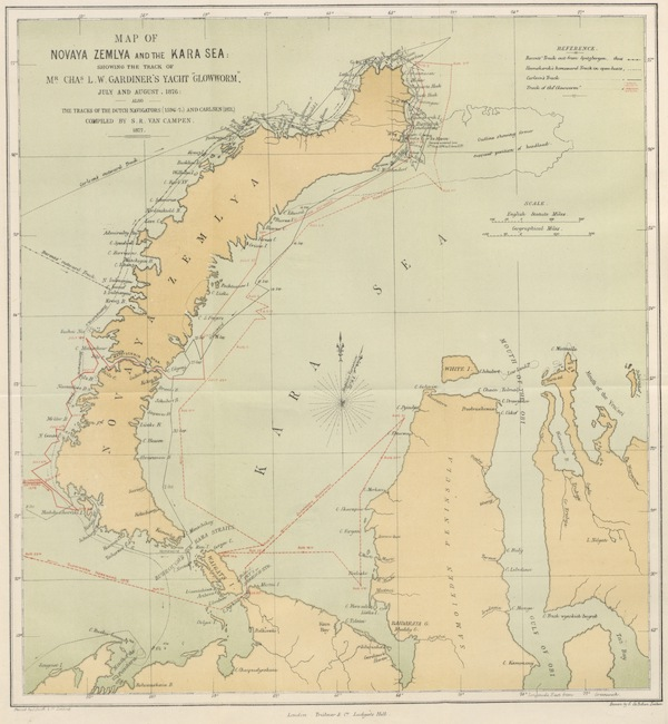 The Barents Relics Recovered in the Summer of 1876 by C. L. W. Gardiner - Map of Novaya Zemlya and the Kara Sea Showing the Track of Mr. Chas L. W. Gardiner's Yacht Glowworm (1877)