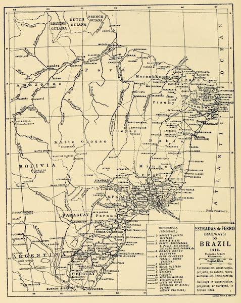 The Beautiful Rio de Janiero - Map of the Railways of Brazil (1914)