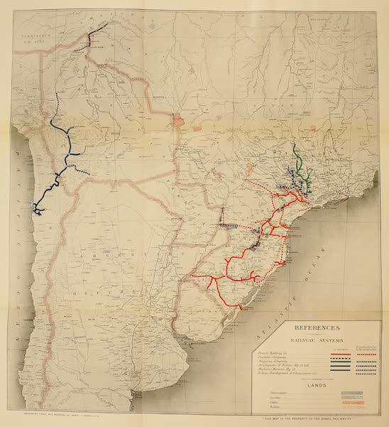 The Beautiful Rio de Janiero - Map of Brazil with Railways (1914)