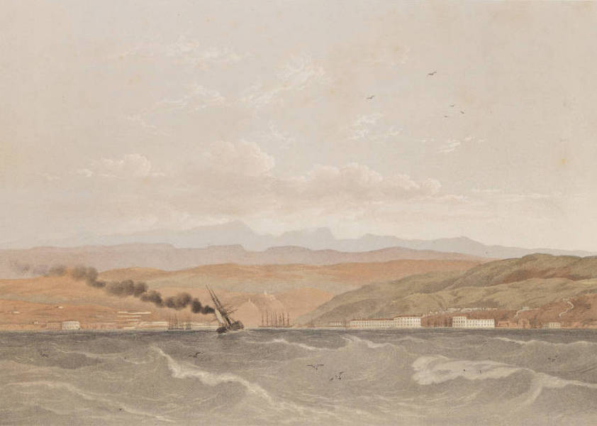 The Beautiful Scenery and Chief Places of Interest throughout the Crimea - Entrance to Sebastopol, from the Sea (1856)