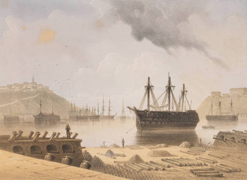 The Beautiful Scenery and Chief Places of Interest throughout the Crimea - The Arsenal Harbour, or Military Port, Sebastopol (1856)