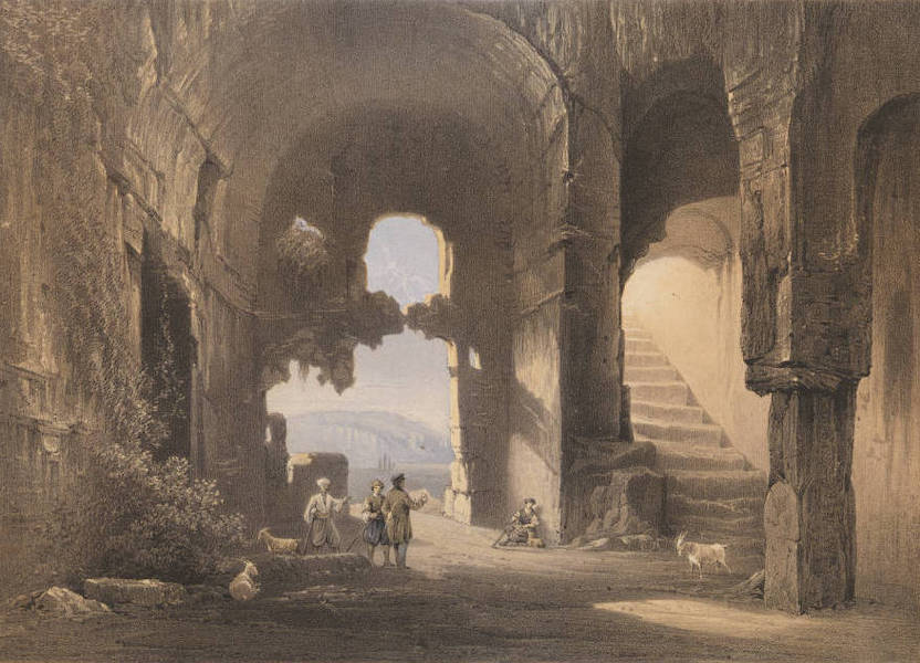 The Beautiful Scenery and Chief Places of Interest throughout the Crimea - Interior of an Early Christian Church (1856)