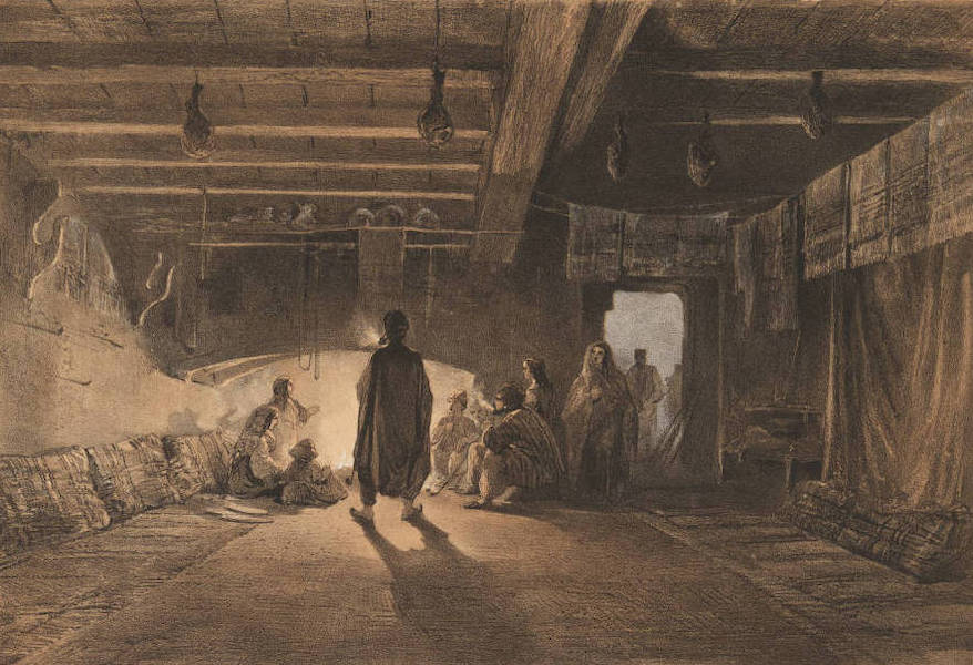 The Beautiful Scenery and Chief Places of Interest throughout the Crimea - Interior of a Tartar House (1856)