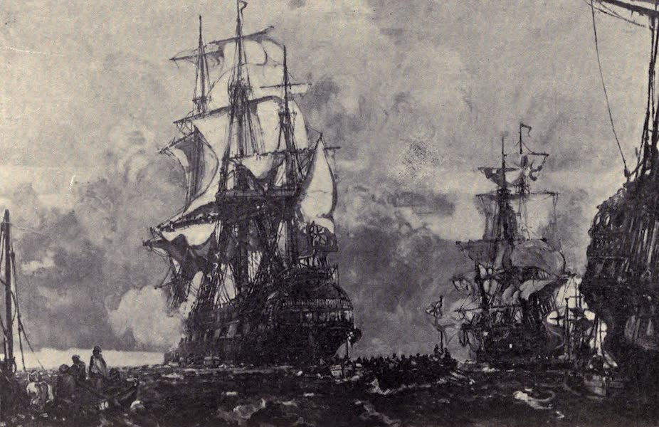 The Book of Buried Treasure - H.M.S. Lutine leaving Yarmouth Roads, Oct. 9, 1799, on her last voyage (1911)