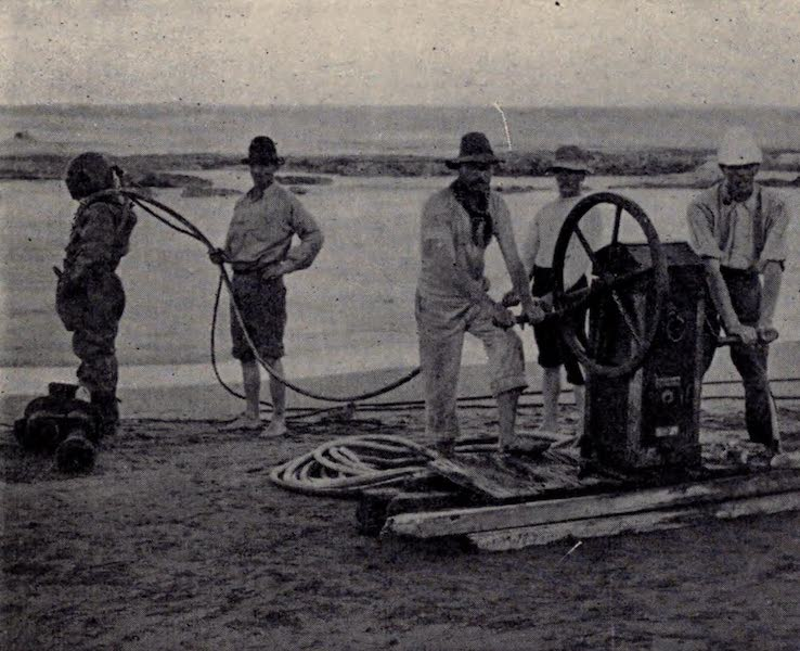 The Book of Buried Treasure - Divers searching wreck of Treasure-ship Dorothea, Cape Vidal, Africa (1911)