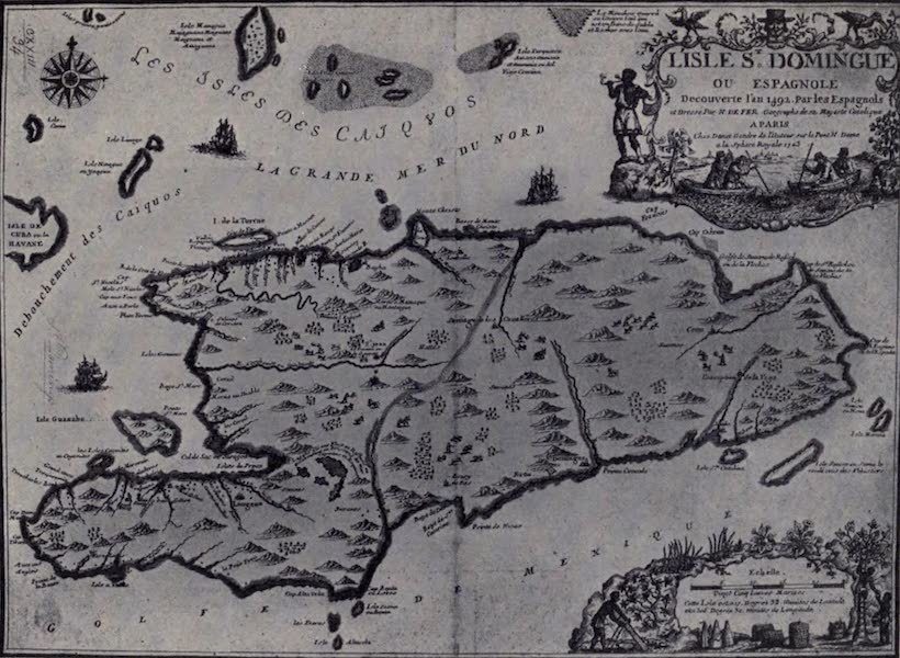 The Book of Buried Treasure - Map of Hispaniola (Hayti and San Domingo) engraved in 1723, showing the buccaneers at their trade of hunting wild cattle (1911)