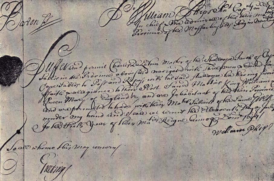 The Book of Buried Treasure - Permit issued by Sir William Phips as royal governor in which he uses the title