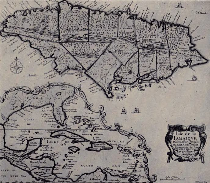 The Book of Buried Treasure - An ancient map of Jamaica showing the haunts of the pirates and the track of the treasure galleons (1911)