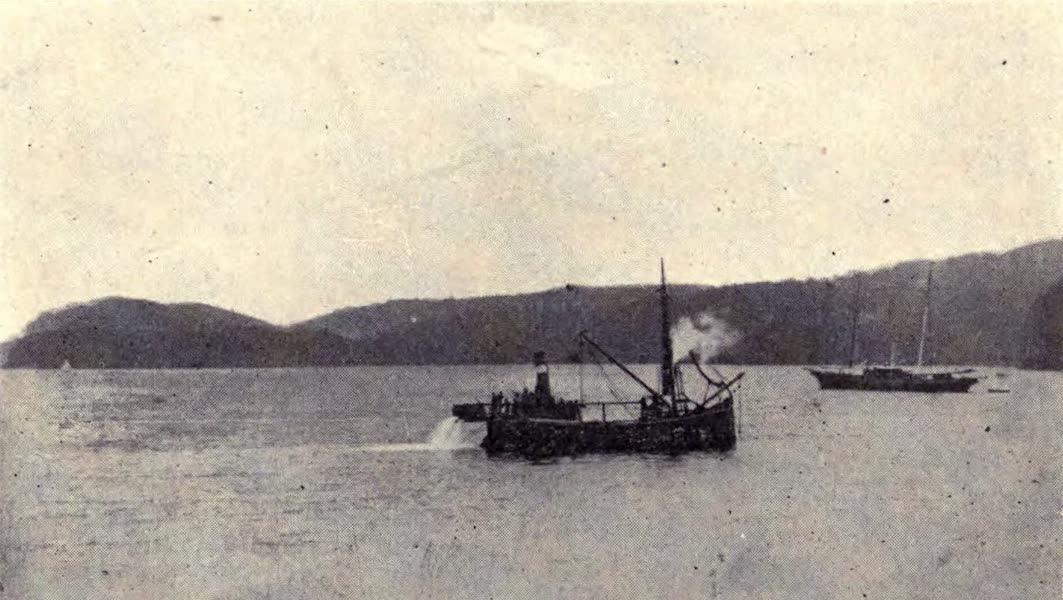 The Book of Buried Treasure - The salvage steamer Breamer equipped with suction dredge removing a sandbank from the supposed location of the Florencia galleon in 1909 (1911)