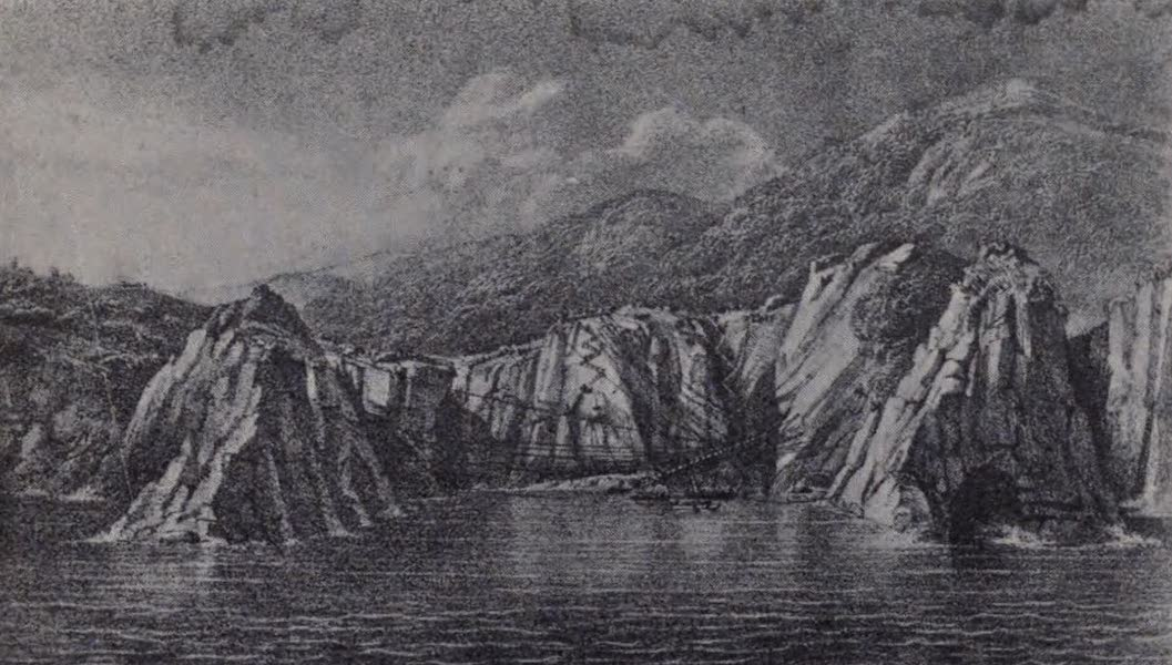 The Book of Buried Treasure - Thetis Cove in calm weather, showing salvage operations (1911)