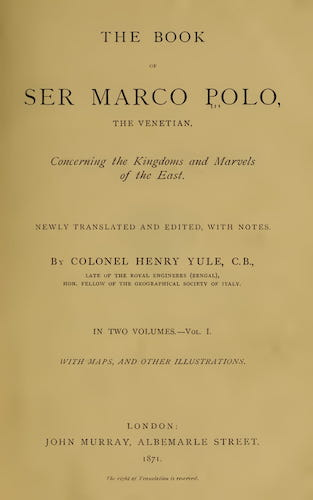 Madras - The Book of Ser Marco Polo Vol. 1