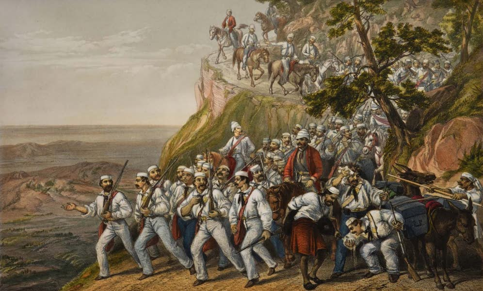 The Campaign in India - The First Bengal Fusiliers Marching Down from Dugshai  (1859)