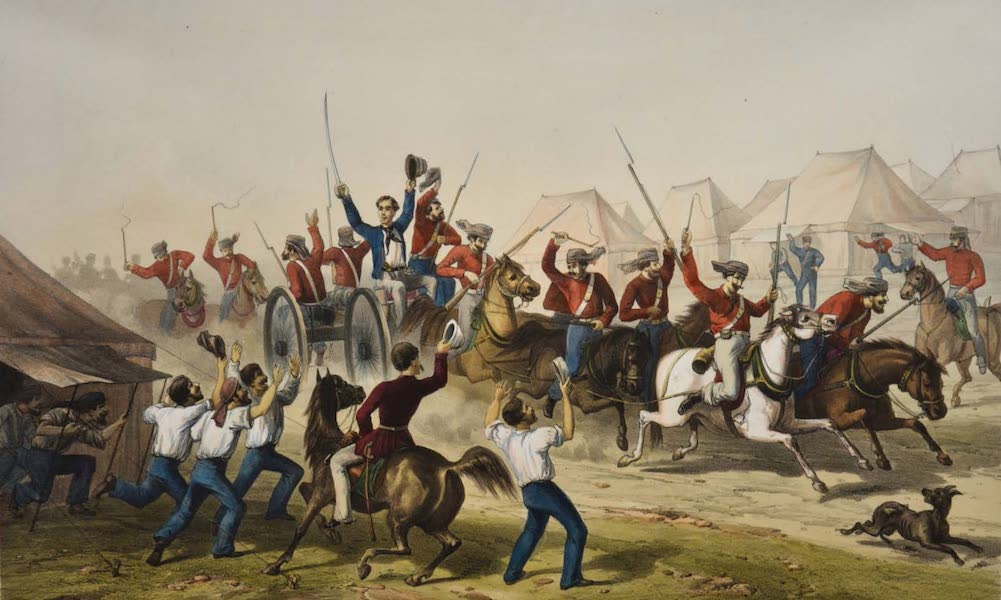 The Campaign in India - Fusiliers Bringing the Captured Guns into Camp  (1859)