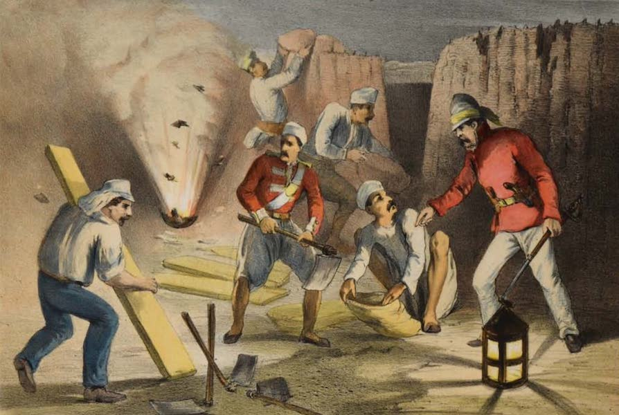 The Campaign in India - Sappers at Work in the Batteries (1859)