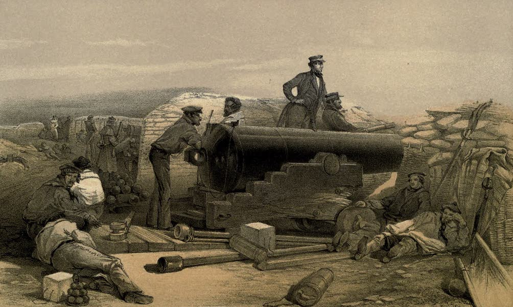 A Quiet Day in the Diamond Battery. Portrait of Lancaster Sixty-eight Pounder, 15th December, 1854
