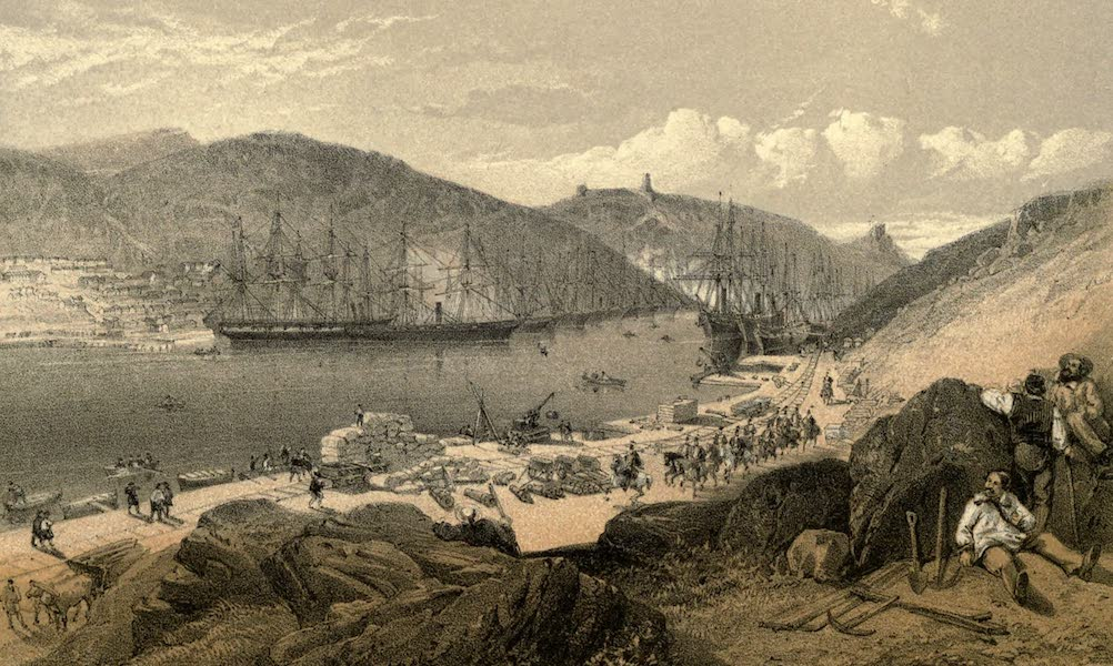 Balaklava, showing the state of the Quays and the Shipping in May, 1855