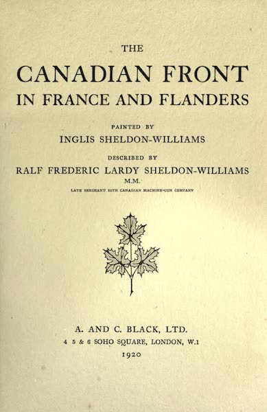 The Canadian Front in France and Flanders - Title Page (1920)