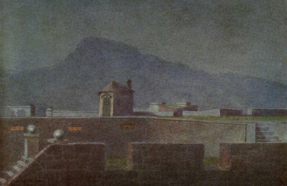 The Cape Peninsula: Pen and Colour Sketches - On the Ramparts of the old Castle (Moonlight) (1910)