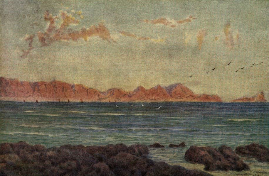 The Cape Peninsula: Pen and Colour Sketches - The Southern Part of False Bay, with Cape Hangclip (1910)