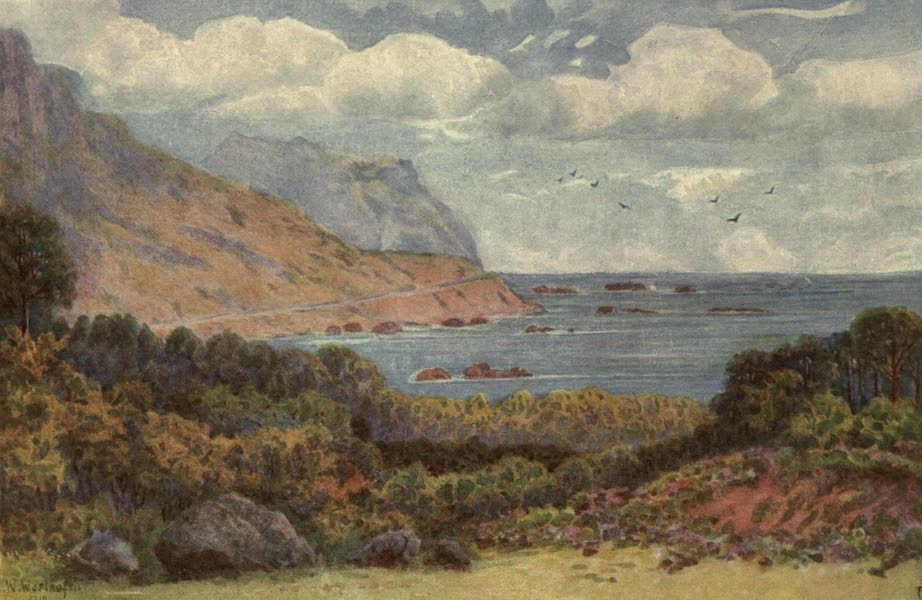 The Cape Peninsula: Pen and Colour Sketches - On the Victoria Road, near Oude Kraal (1910)